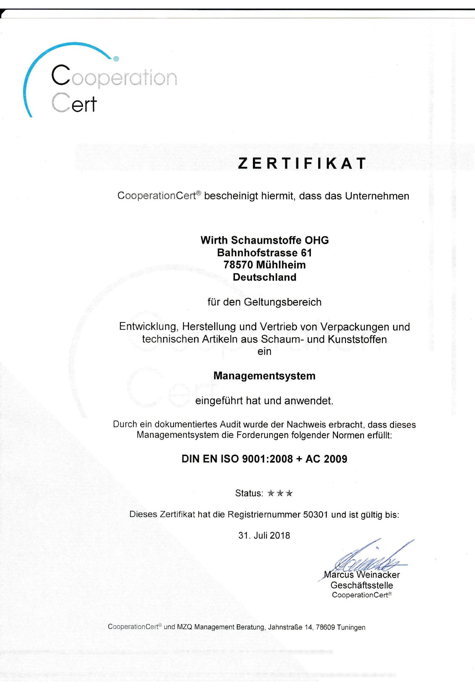 DIN EN ISO Wirth Schaumstoffe OHG 2016